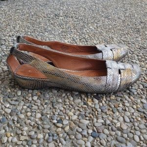 Gentle Souls Metallic Leather Slip On Flats Sz 7.5